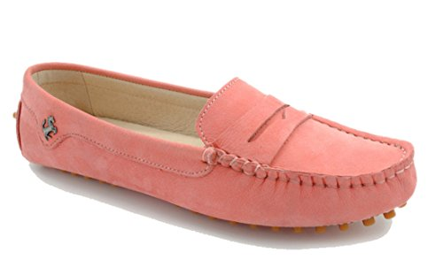 LL STUDIO Womens Casual Slip On Flats Pink Seude/Leather Driving Walking Moccasins Loafers Boat Shoes 9 M US -  LL STUDIO-YIBU9603-Pink Leather41