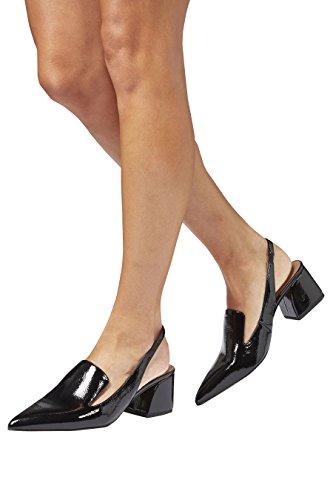 next Mujer Mocasines tira parte trasera punta Corte Regular Negro