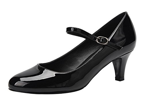 CAMSSOO Women's Closed Toe Low Mid Heel Ankle Strap Dress Pump Shoes Black Patent PU Size US8 EU40 -