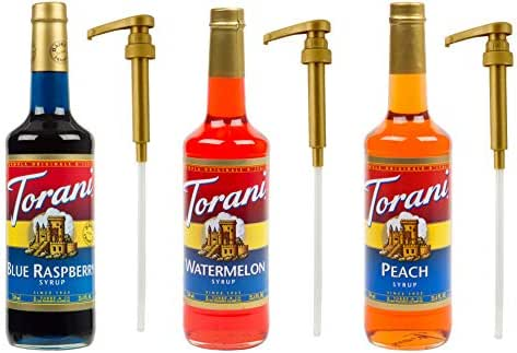 Torani Summer Fruit Syrup PLUS 3 Pumps, Blue Raspberry, Watermelon and Peach, 25.4 Ounce (3 Pack) for Torani 25.4 Ounce Bottles, to Enhance Coffee, Latte, Desserts