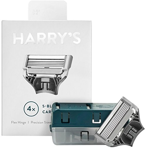 Harrys Razor Blades (1 Pack of 4) in Durable Hinged Water Friendly Travel Case by Harry's