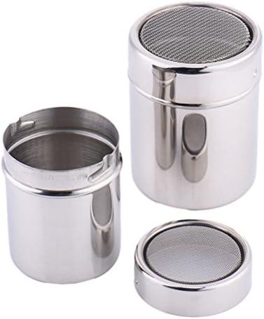 BESTOMZ Schokolade Shaker Duster Kaffee Mehl Sifter Edelstahl Salz Dispensers + 16pcs Cappuccino Streuer Schablonen Kaffee Schablone