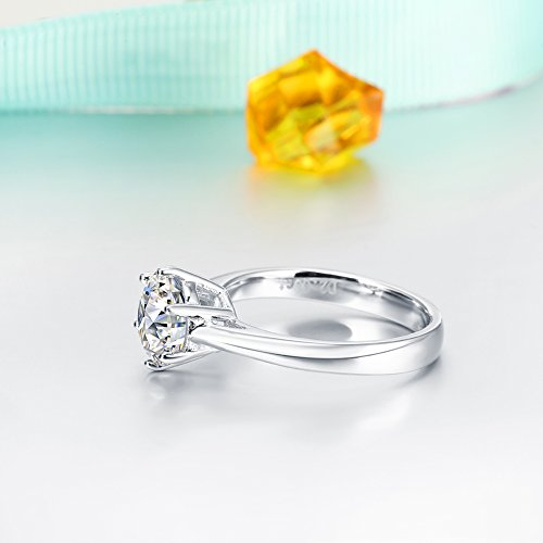2.0 Ct Moissanite Ring Diameter 8.0mm H-I Colorless Sterling Silver Engagement Rings By Van Rorsi&Mo by Swhitee (Image #5)