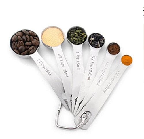 MEAILE Measuring Spoons Stainless Steel Set of -6 Piece
