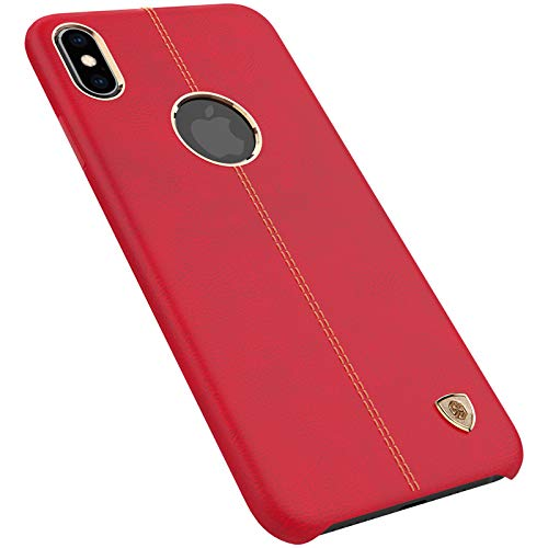 Nillkin Case for Apple iPhone Xs (5.8″ Inch) Englon Series Leather Finish Exclusive Luxury Protect with Logo Cut Red Color