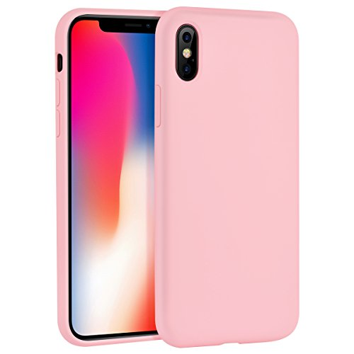 iPhone X Case, Liquid Silicone Gel Rubber Matte Shockproof Anti Scratch Minimalist Thin Ultra Slim Case Fit Soft Microfiber Lining Shock Absorbent 3D Full Protective Cover for iPhone X 10 (Matte Silicone)