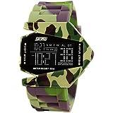 Auspicious beginning Children's novelty waterproof LED Military plane design digital sports watch, camouflage army green