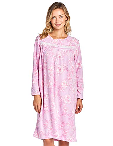 Casual Nights Women's Long Sleeve Micro Fleece Cozy Floral Night Gown - Pink - Small