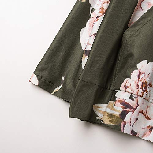 for Women Rope Women Printing VEMOW Caps Women Ladies Tops Casual Army Pulling Sweatshirts Sweatshirts for Green Pocket Flower for Women tgpwx8Odnx