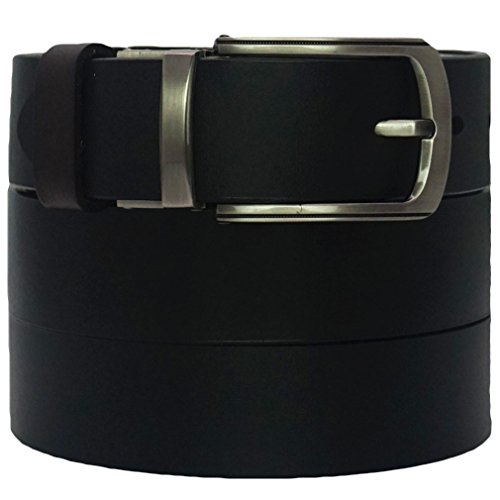 West Leathers Men's Premium Italian Top Grain Leather Belts Reversible Black/Brown Classic Belt Size 36 Style 1 - West Brown Leather