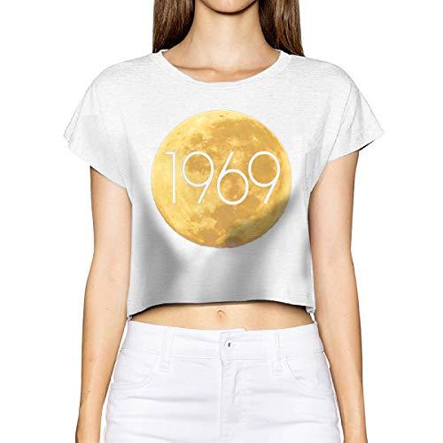 YONG-SHOP 50th Anniversary Apollo 11 1969 Moon Women's Loose T Shirt Leakage Umbilical Short T-Shirt