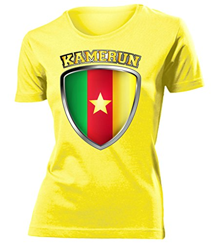 coppa del Mondo - Campionati Europei KAMERUN FAN mujer camiseta Tamaño S to XXL varios colores Amarillo