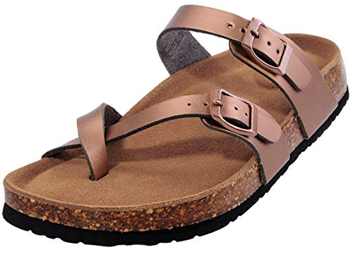 - festooning Womens Dress Sandals Adjustable-Fit Cork-Footbed Summer Bronze Slide Shoes 10 M US