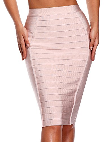 Hego Women's Stripe Wear to Work Bandage Bodycon Midi Skirts H1863 (S, Pink)