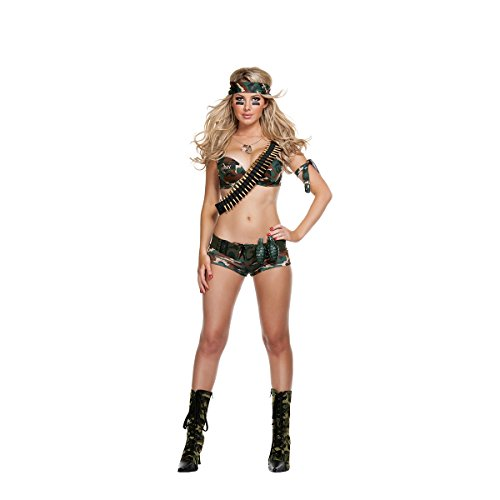[Starline Women's Sexy Combat Hottie 6 Piece Costume Set, Green, Medium] (Combat Costumes Women)