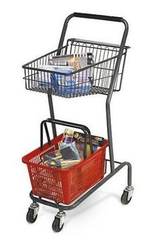 Mini 42 Inch Retail Store Shopping Cart - Red Basket Included by Store Shopping Cart