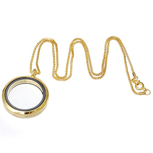 RUBYCA Living Memory Floating Charm Round Glass Locket Pendant Necklace 20 Inches 10pcs Gold Color (Round Locket Bracelet)
