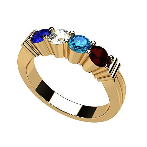 NANA Shared Prong Mothers Ring 1 to 6 Stone 10k Yellow Gold - Size 7