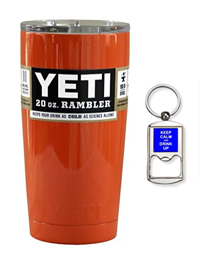 YETI Coolers Custom Powder Coated Insulated Stainless Steel 20 Ounce (20 oz) (20oz) Rambler Tumbler with Lid and Bottle Opener Keychain (Bright Orange)