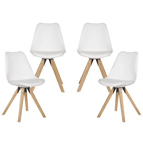 YURUCY Dining Chairs White Furniture Chair Set of 4 Side Wood Assembled Legs For Office Kitchen Living Room Bedroom