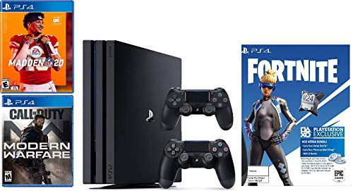 2019 Playstation 4 PS4 Pro 1TB Console + Two Dualshock-4 Wireless Controllers + (Call of Duty: Modern Warfare, Madden NFL 20, Fortnite) Bundle
