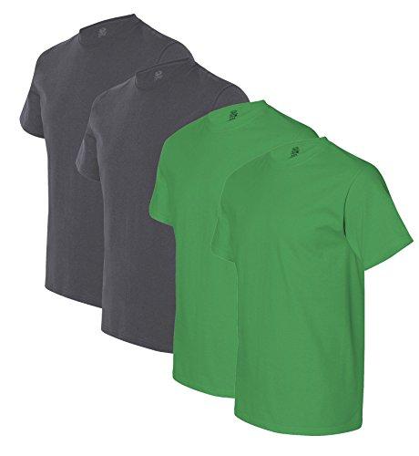 Fruit of the Loom mens 5 oz. 100% Heavy Cotton HD T-Shirt(3931)-CHARCOAL GREY/KELLY-S-2PK