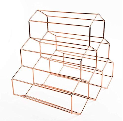 JUSTINZ Wine Rack, 6 Bottles,Metal Honeycomb Style, Free Standing Countertop, Wine Rack Tabletop Wine Storage Holders Stands,28.5 X 10 X 27.5cm,Rosegold