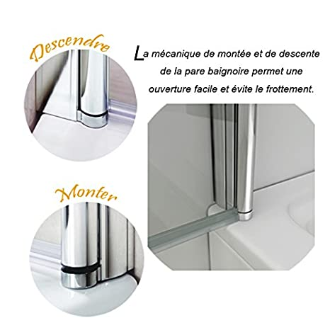 70x195cm porte de douche en niche porte de douche /à charni/ère verre clair tremp/é s/écurit