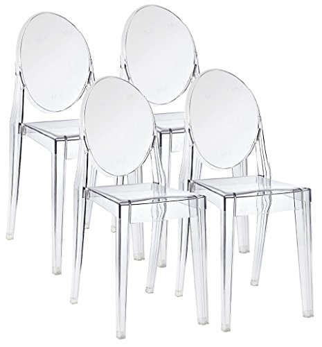 Emorden Furniture Classic Louis XV-style Ghost Chair(3 Colors Available), Set of 4, Polycarbonate Plastic Armless Dinning Chair in Clear Transparent Crystal