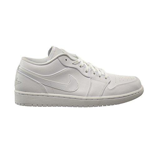 Air Jordan 1 Low Men's Shoes White/Metallic Silver 553558-105 (9 D(M) US) (Air Jordan Low Shoes)