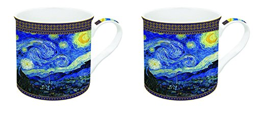 R2S 171van4Van Gogh Impressionism Night with 2Mugs Porcelain Colourful 30cl