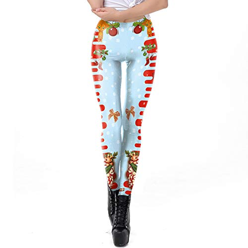 iYBUIA Holiday Clearance Womens Christmas Cartoon Patchwork Print Tighten High Waist Pencil Pants Trousers ()