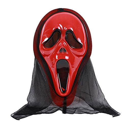 Kofun Halloween Mask Skull Ghost Scary Terror Scream Masquerade Party Cosplay Costume Red -