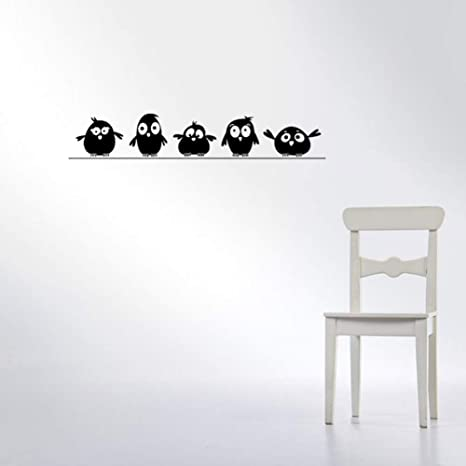 Amazon com: HDWPSHHY Cute 5 Little Birds On The Wire Wall Stickers