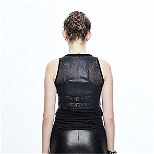 Finta Pelle Fashion Cerniera Women Giacca Vintage Punk Cappotto Donna Con Gilet Unico Smanicato Gotico Di Fit Corto Giovane Eleganti Nero Slim a4dAwwq