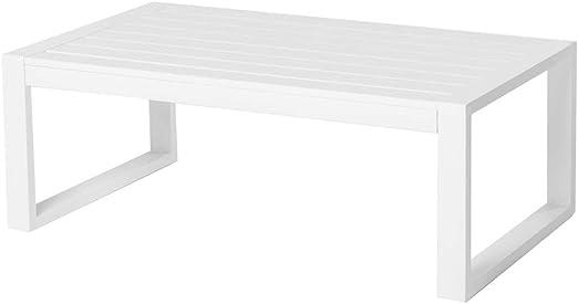 Mesa de Centro de Exterior Blanca de Aluminio para terraza Garden ...