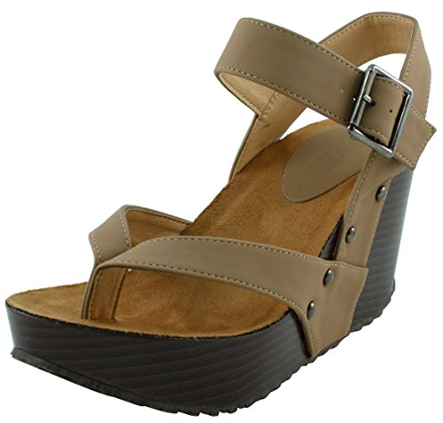 Cambridge Select Women's Studded Ankle Strappy Buckle Thong Platform Wedge Sandal (6 B(M) US, Camel)