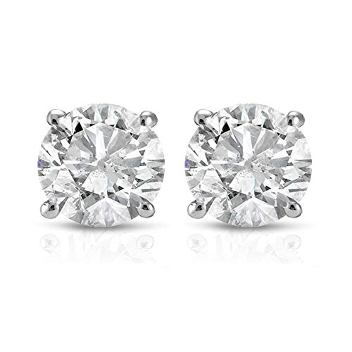 1 Carat Diamond Stud Earrings - 1 ct Round Cut 14K White Gold Diamond Studs Womens Earrings IGI Certified