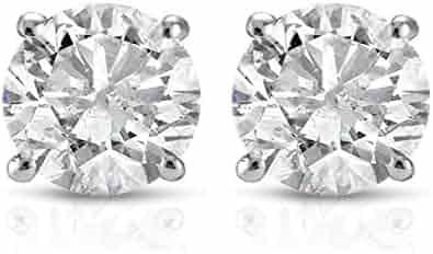 1 ct Round Cut 14K White Gold Diamond Studs Womens Earrings IGI Certified