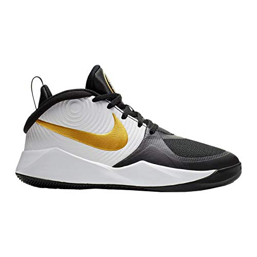 Nike Unisex-Kid's Team Hustle D 9 Grade School Basketball Shoe, Black/Metallic Gold-White, 6Y Youth US Big Kid