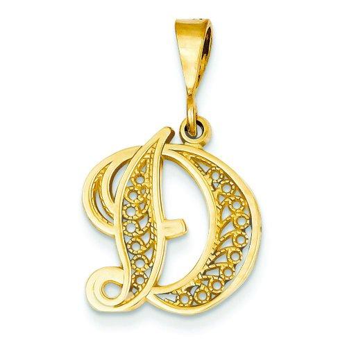 14K Gold Initial D Charm Jewel