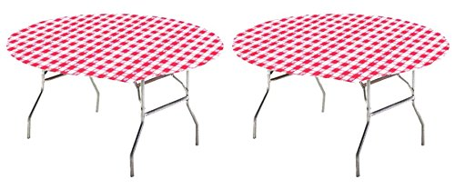 Creative Converting Round Stay Put Table Cover, 60-Inch, Red Gingham (2 pack)]()
