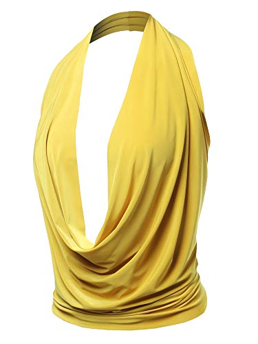 Sexy Drape Deep V-Neck Cowl Neckline Halter Backless Party Club Top Yellow M