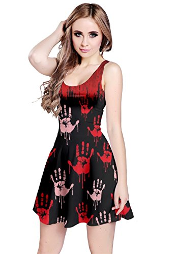 CowCow Womens Bloody Hands Black Sleeveless Dress, Red - 3XL