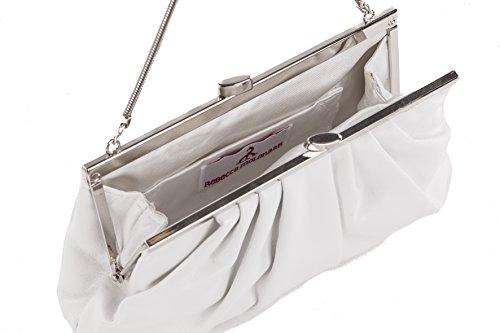 pochette RMA 16 con Bianco ecopelle chiusura in Pochette in metallo tqdft