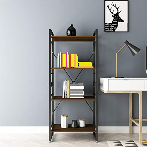 DEWEL 4-Shelf Bookshelf Vintage Industrial Rustic Bookshelf Rack Metal and Wood Bookcase 55'' High Tall Bookcase Furniture Standing Storage Shelf Units for Home Office