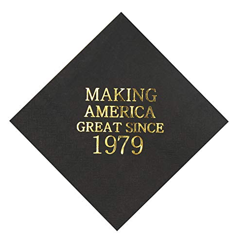 (Veronica 40th Birthday Black and Gold Cocktail Napkins Making America Great Since 1979 Decoration Party Supplies 50 Pack 4.9