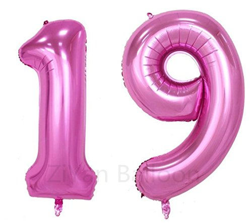 ZIYAN 40 Inch Giant 19th Pink Number Balloons,Birthday