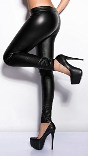 Koucla Leggings Wetlook mit Zipper vorn (900649 schwarz M/L)