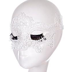 Maschera di pizzo sexy divertente travestimento fashion Club , white